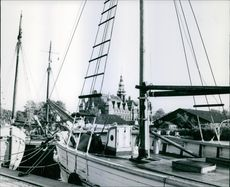Vintage view of Nordic Museum taken from a port nearby.