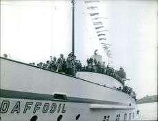 Musicians on board in a ship while celebrating a Jazz festival. 1961