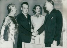 Grace Kelly and Prince Rainier together with Mr & Mrs John B. Kelly at the Engagement Party in New York