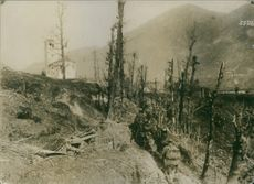 German troops pass the first Italian trenches at St. Daniel during the first world war.