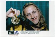 Lumila Engquist with his gold medal during the Olympic Games in Atlanta in 1996