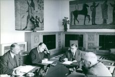President Pompidou in a meeting with his cabinet men. 1962