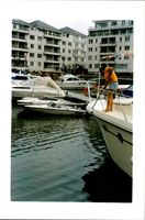 A portrait of Boats at chelsea harbour.