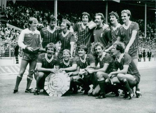 Liverpool Football Club players photographed after their 1982 Charity shield victory.