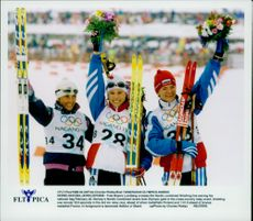 The medalists in unknown cross-country skiing in Nagano OS 1998.