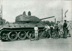 Captured T-34 displayed at the horse guard parade