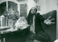 Eartha Kitt with friend at restaurant in Stockholm