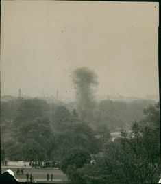 The Explosion of the German bomb detonated by the Royal Engineers in St. James's Park where it was dropped in 1941