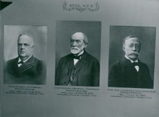 Portrait pictures of Theodor Wisén, Knut Fredrik Södervall and Karl Axel Lichnowsky
