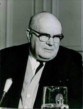 Paul-Henri Spaak pictured looking disgruntled during a press conference.