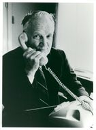 Gunnar Hedlund, Center Party Leader on the phone.