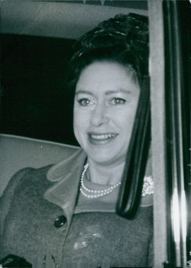 Still of Princess Margaret, Countess of Snowdon, in a vehicle.