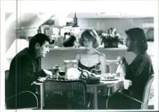 "A scene from the film ""Point of No Return"", with Gabriel Byrne as Bob, Bridget Fonda as Maggie Hayward/Claudia Anne Doran/Nina and Dermot Mulroney as J.P., 1993."