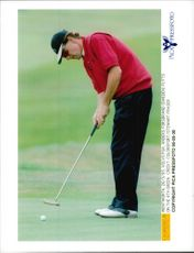 Golf player Anders Forsbrand puts on the 4th green under the Volva PGA 1995