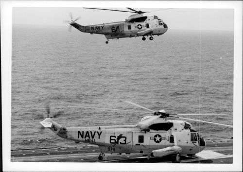 Helicopters on the USS America aircraft carrier