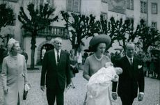 Princess Benedikte and her husband Prince Richard during the baptism of their first son Prince Gustav, 1969.