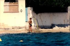 "Crown Princess Victoria on the beach at Princess Lilian's house ""La Mirage"" on the French Riviera"