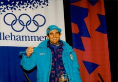 Alberto Tomba at a press conference at the Olympic Center in Lillehammer