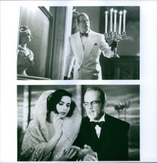 """Different scenes from the film """"Death Becomes Her"""", with Bruce Willis as Dr. Ernest Menville and Isabella Rossellini as Lisle von Rhoman, 1992."""