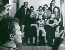family portrait of  a Russian politician Nikita Sergeyevich Khrushchev siting with family during photographing. 1960