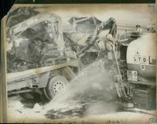 road accidents:the scene of cornage of the m61.