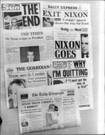 British newspapers' front pages at Nixon's resignation