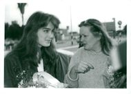 Actress Brooke Shields with her mother Teri on arrival at Tel Aviv Airport