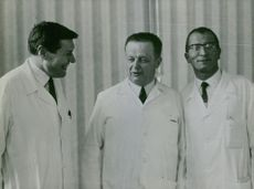 Dr Christian Cabrol, Maurice Mercadier and Gerard Guiraudon, first surgeons to transplant a human heart. 1968