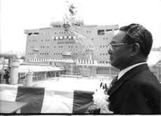 "Isamu Yamashita at the launch of a new super tanker- ""the Berge Empress""."