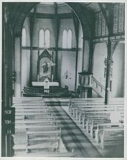 Almost empty church during a German church service in Norway.