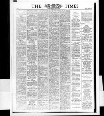 The first real first page of The Times 1788 - three years after the founding of the Daily Universal Register turned over to become The Times