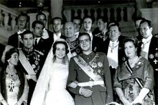 King Juan Carlos of Spain and Princess Sofia of Greece surrounded by family on their wedding day.