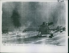 The winds harnessed to Soviet military use. Red Army unit riding airsleighs engaged in operation during Ryssland War .1943.