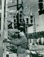Stornorrfors. Erich Schmidt does the switching work at the switchgear