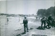 Soldiers in an open ground in Cyprus, 1964.