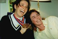 Magdalena Forsberg together with his sister Anna and the medals from the shooting-world cup.