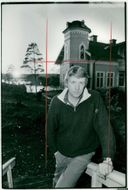Swedish composer, sound artist, composer and director Ralph Lundsten outside his accommodation in Saltsjö-Boo.