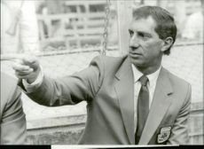 Argentina coach Carlos Billardo during Argentina's match in the World Cup 1986