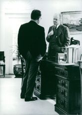 President Gerald Ford and his Secretary of State Dr. Henry Kissinger in the Oval office of White House.