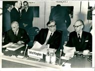 Sir George Brown at a meeting with Michael Stewart (r) and Douglas Jay
