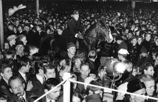 Mounted police cleans up the crowd