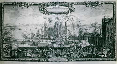 Kronborg Castle is shot by the Swedes under Charles X's second war against Denmark. Copper engraving drawing by Erik Dahlberg