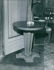Table with Martini Ashtray on top.