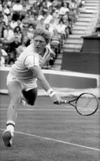 Boris Becker during a match at the Queen's Club in London.