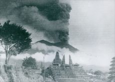 Smoke spreading behind of temple.