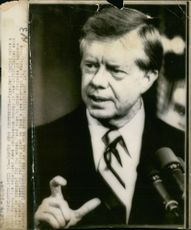 President Jimmy Carter makes a point during his televised news conference in Washington