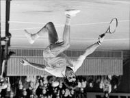 Tom Gorman in action during the Stockholm Open 1973