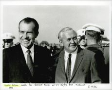 Harold Wilson meets Pres. Richard Nixon at US Airforce Base, Mildenhall.