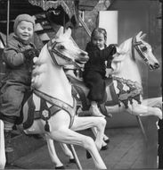 The Red Cross week temporary amusement park in Kungsträdgården was among other things a carousel. - 7 May 1944