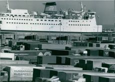 A scene from the Dover Harbor on the South Coast of England, Lorries and containers from all over Europe wait to board.
